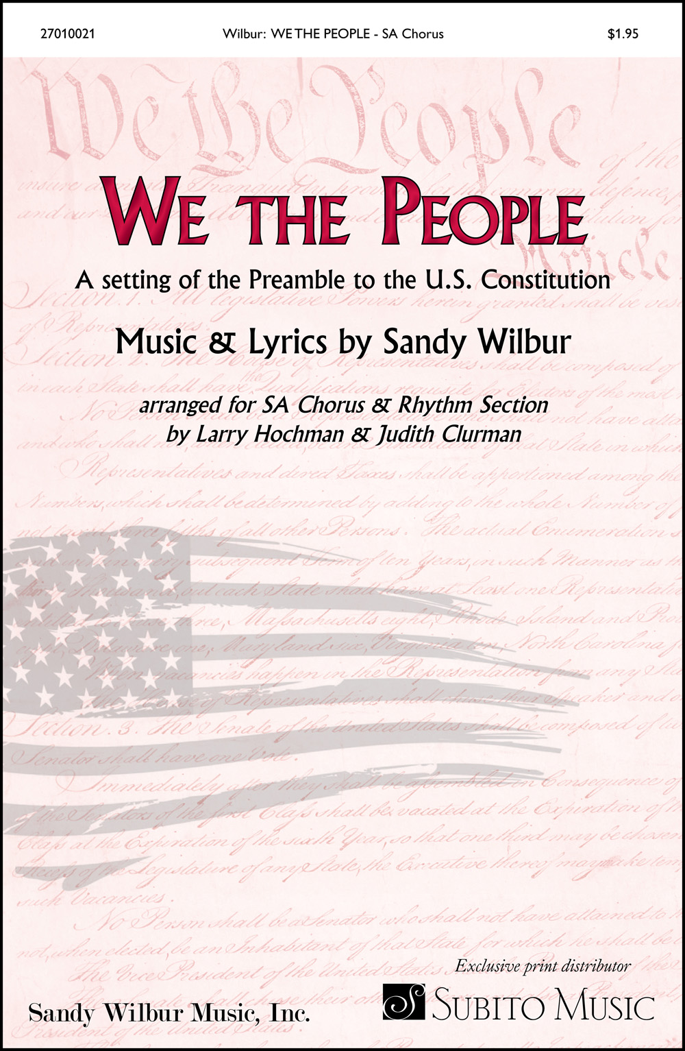 We the People for SA Chorus & Piano Discount Lot of 20 (with opt. Synthesizer, Guitar, Bass, Drums)